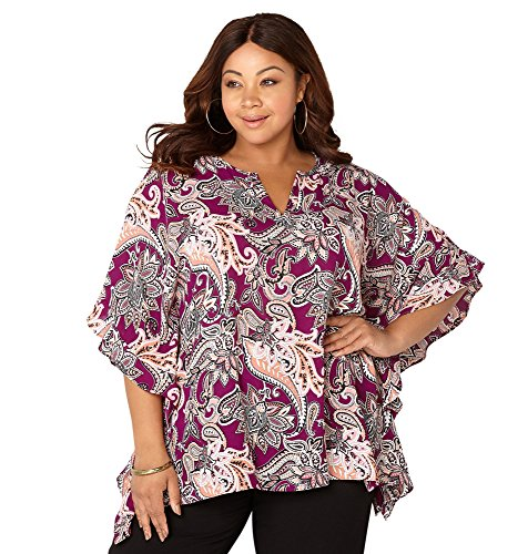 AVENUE Women's Paisley Ruffle Poncho, 14/16 Multi Color