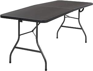6 Foot x 30 inch Fold-in-Half Blow Molded Folding Table, Black