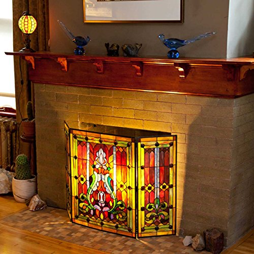 River Of Goods Fireplace Screen Stained Glass Tiffany Style Screens Gas Wood Burning