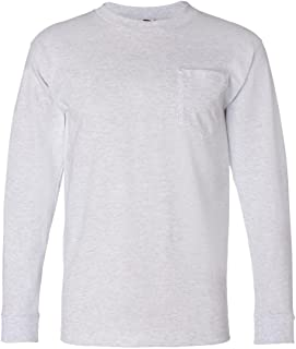 product image for Bayside Adult Long-Sleeve Tee with Pocket 8100 - Ash_2XL