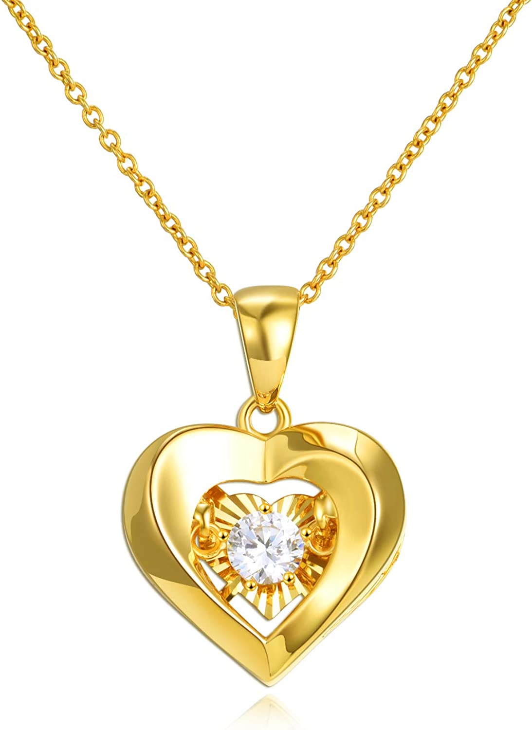 18k Gold Heart Jewelry Necklace for Women, Solid Gold Chain and Pendant...