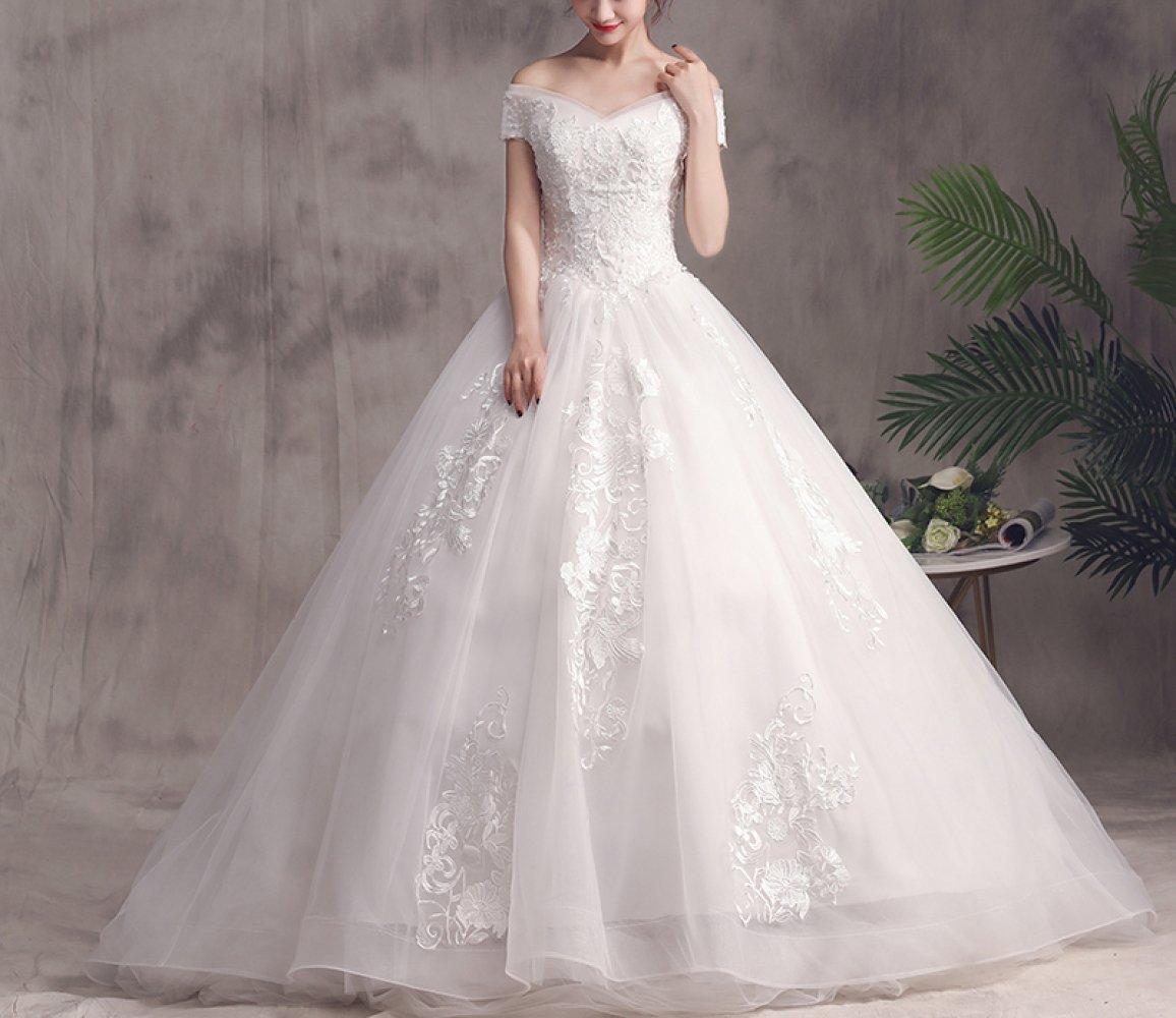 05acbd048b Amazon.com  MOMO Meili Word Shoulder Wedding Dress 2018 Korean Bride  Married Pregnant Women Large Size was Thin Long Tailed Qi  Princess