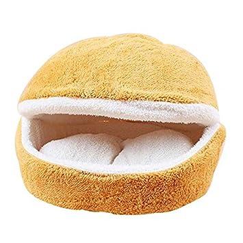 Hamburguesa Diseño Cama Para Mascotas en Forma de Concha del Gato del Saco de Dormir (Amarillo): Amazon.es: Hogar