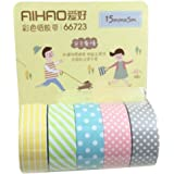 5pcs Washi Papier Ruban Adhésif Collant Scrapbooking Sticker Décoratif 5M (15mm)