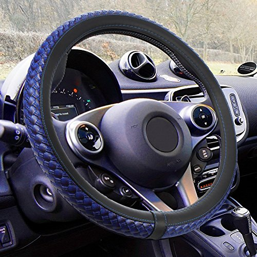 DYTesa Car Steering Wheel Cover, Microfiber PU Leather Anti-Slip Auto Steering Cover Fits All Standard Size 15inch,Blue