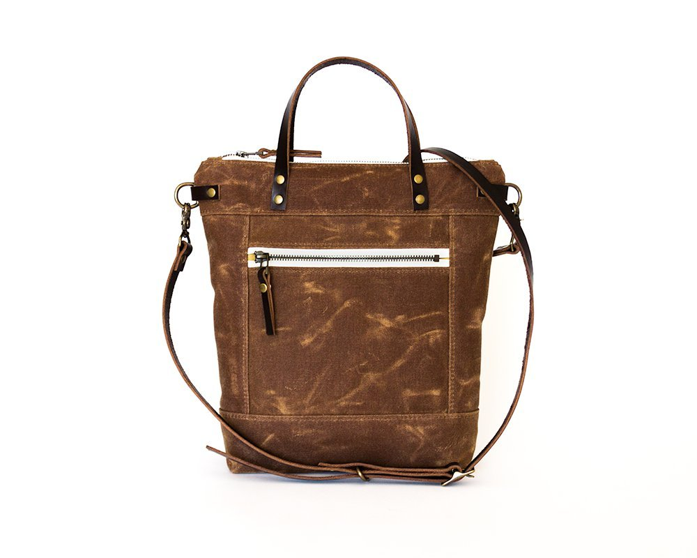 Earth Brown Small Waxed Canvas Crossbody Handbag with Leather Strap and Solid Brass Hardware