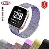 FunBand for Fitbit Versa Strap Mental Bands,Milanese Stainless Steel Adjustable Replacement Accessory Bracelet Straps with Convenience Magnet Lock for Fitbit Versa Fitness Wristband