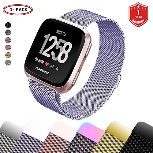 FunBand for Fitbit Versa Strap Mental Bands,Milanese Stainless Steel Adjustable Replacement Accessory Bracelet Straps with Convenience Magnet Lock for Fitbit Versa Fitness Wristband by FunBand