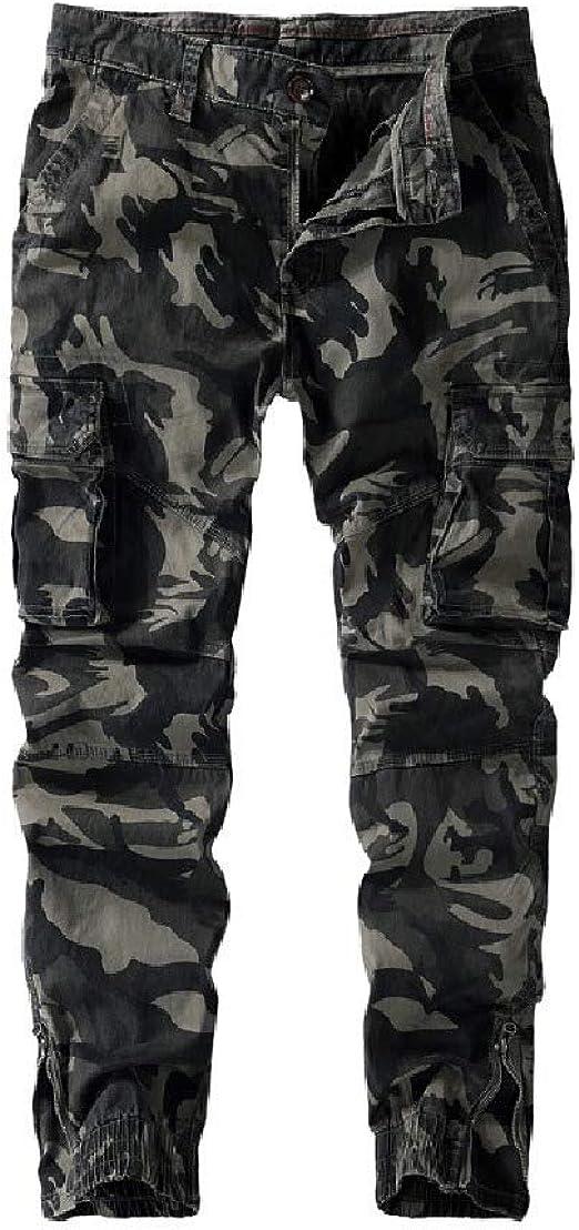 Romancly Men Multicamo Plus-size Vintage Wash Wild Cargo Pants Tactical Pants