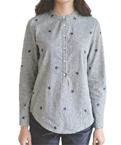 Tayaho Camisas Manga Larga Mujeres Camisetas Casual Cuello Redondo Tops Elegante Vintage Camisa Impr...