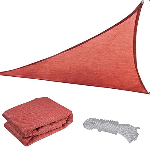 16 Dk. Red Polyethylene Fabric Triangle Outdoor Sun Shade Sail Canopy w/ Ropes Carabiners Carry Bag UV Block Top Patio Lawn Yard Garden 6.5 Degrees Celsius Cooler