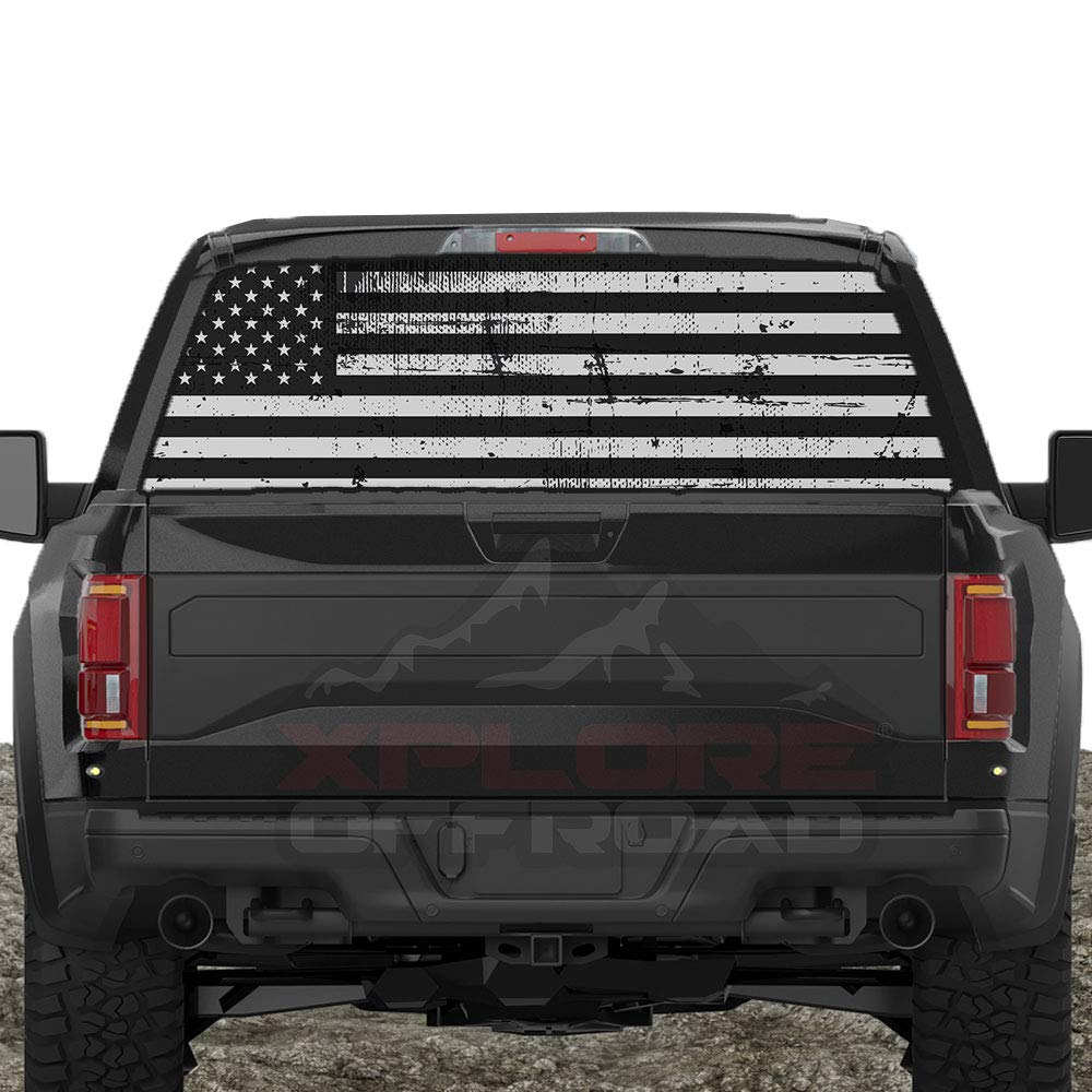 XPLORE OFFROAD - American Flag Rear Window Decals (Distressed Black & White)