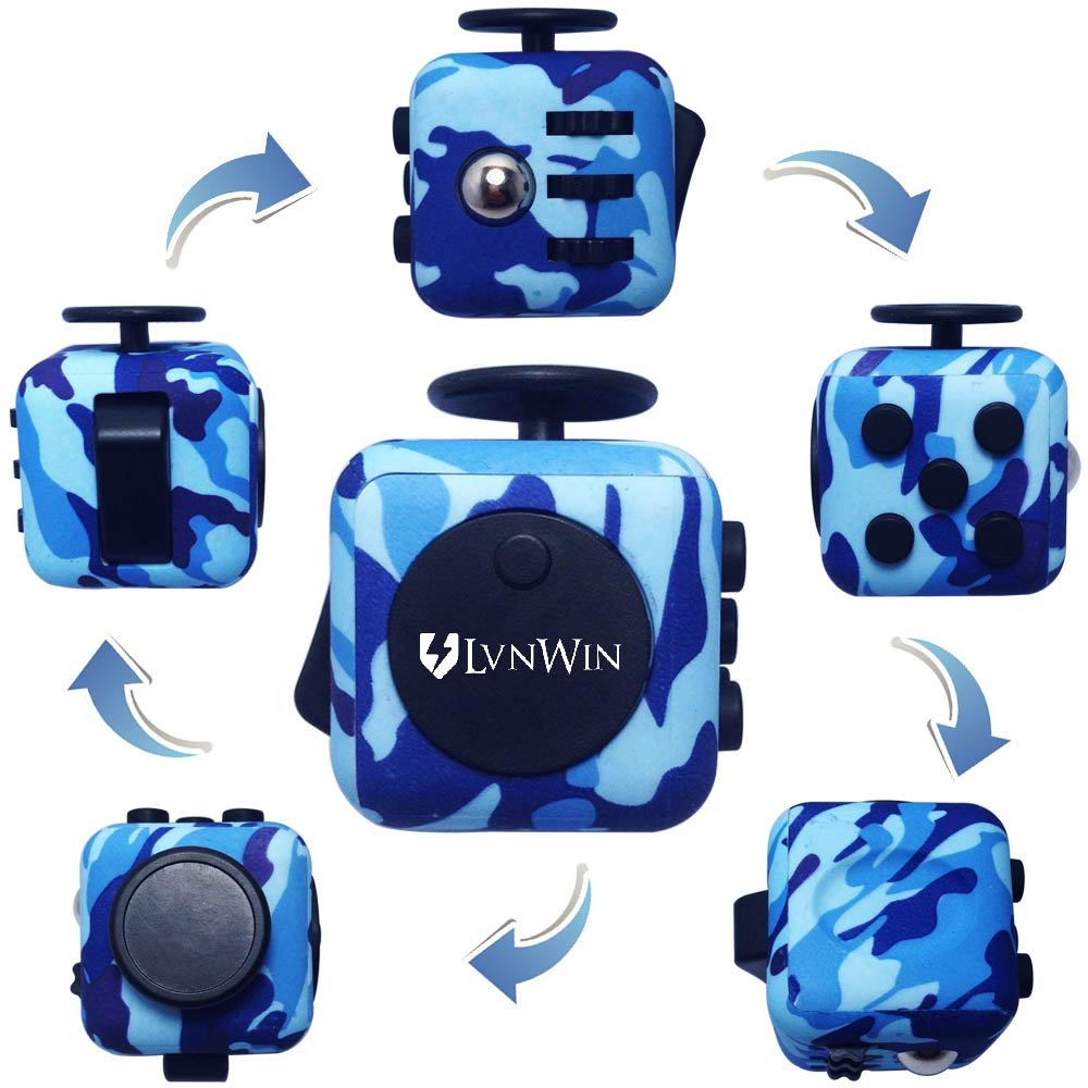 LvnWin Fidget Cube Dice Toy Stress Reducer Helps Focusing Relax Anti-Anxiety Boredom For ADD, ADHD, EDC, Kids and Autism Adult Children (Camo Blue)