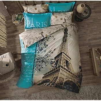 %100 Cotton Ranforce 7-PCS Brown Beige Full Queen Size Duvet / Quilt Cover Set Paris Eiffel Tower Theme Themed Bedding Linens