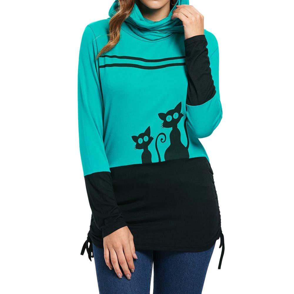 OCASHI Girls Hoodie, Womens Cowl Neck Cat Print Long Sleeve Blouse Sweatshirt Hooded Pullover Tops (XXL, Black)
