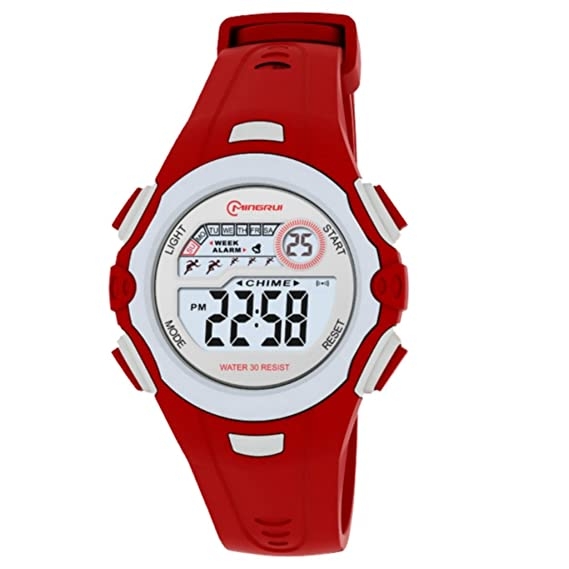 Reloj Concept - Reloj digital Mujer/Niño - Correa Plástico Rojo - Esfera Redondo Fondo Gris - Marque Mingrui - mr8550-rouge: Amazon.es: Relojes