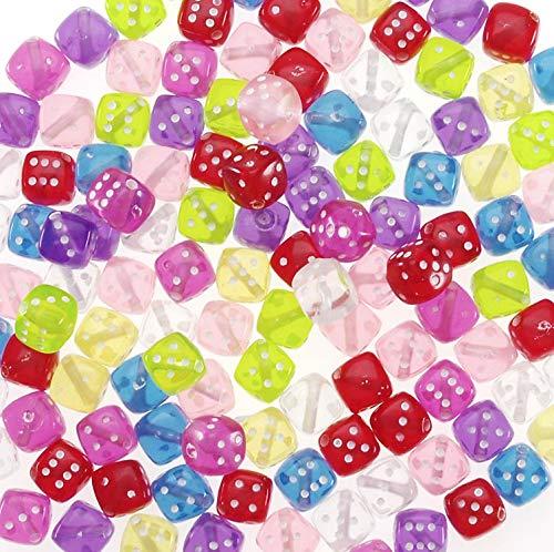 Darice 200-Piece Transparent Dice Beads, 8mm, Multicoloured, One Size ()