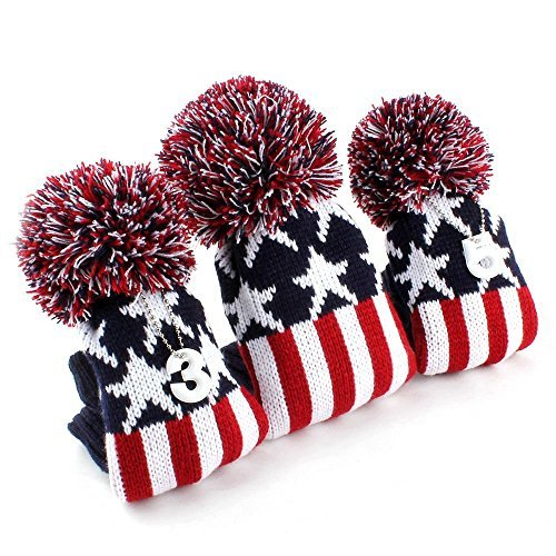Casar Golf Set of 3PCS Red & Mazarine Wool Knitted POM POM Star Stripe Golf Driver, 3#, 5# Fairway woods Head Covers Headcovers Protector