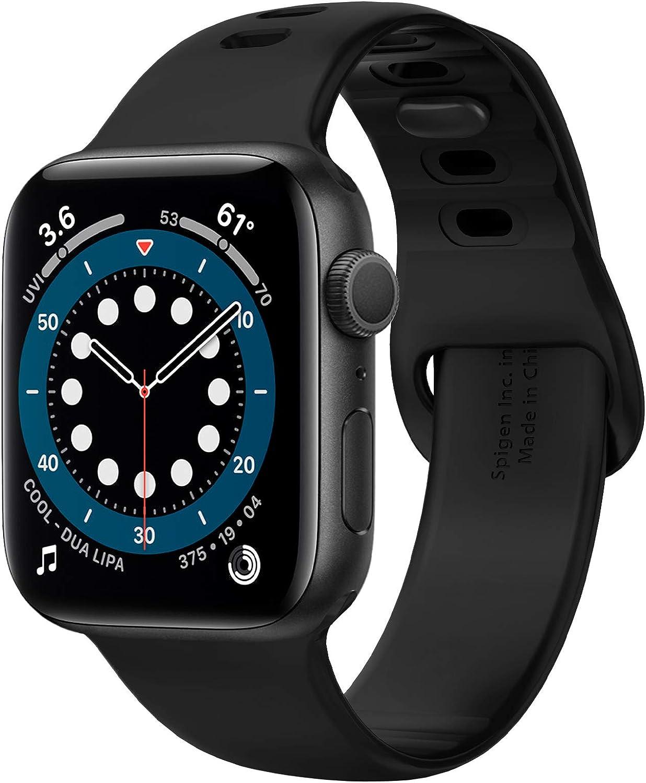 Spigen Silicone Fit Designed For Apple Watch Band for 40mm/38mm Series 6/SE/5/4/3/2/1 - Black