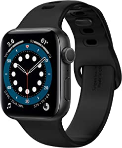 Spigen Silicone Fit Designed For Apple Watch Band for 44mm/42mm Series 6/SE/5/4/3/2/1 - Black