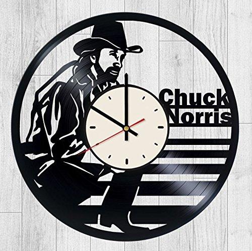 Chuck Norris Vinyl Wall Clock Walker Texas Ranger Unique Gifts Living Room Home Decor ()