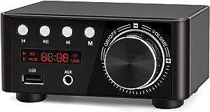 Facmogu Black Mini Bluetooth Power Amplifier, 100W BT 5.0 Digital Power Audio Amplifier - Wireless Receiver Stereo Home Car Audio Player TF USB - No Power Supply