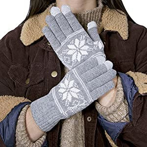Chalier Womens Winter Warm Thick Knit Phone Texting Touch Screen Gloves Mittens, Gray, One Size
