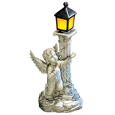 Collections Etc Solar Powered Light-up Lantern with Cherub Figurine - Intricate Carved Details in Cherub and Light Post Displays, Resin Material Safe for All Weather, Silver : Garden & Outdoor