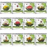 Teabloom Best Value Flowering Tea Balls - 12 Assorted Blooming Tea Flowers with Natural Jasmine