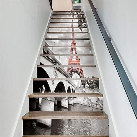 FWSY Impermeable 3D a Prueba de Humedad antiestático Auto-Adhesivos Pegatinas de Escalera, Pared Pintura Vinilo Escalera calcomanía Decoración 39 Pulgadas x7 Pulgadas X 13 Piezas: Amazon.es: Deportes y aire libre