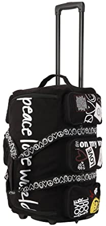 Triforce Peace Love World  Rolling Duffel Black