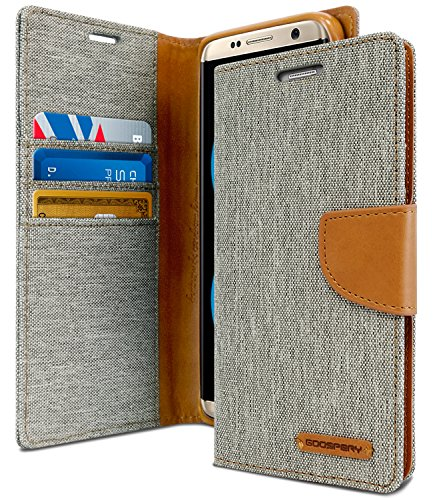 Goospery Canvas Wallet for Samsung Galaxy S8 Case (2017) Denim Stand Flip Cover (Gray) S8-CAN-Gry