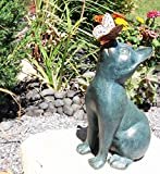 14.75″ Tall Whimsical Shorthair Cat With Flitting Butterfly On His Nose Aluminum Garden Statue