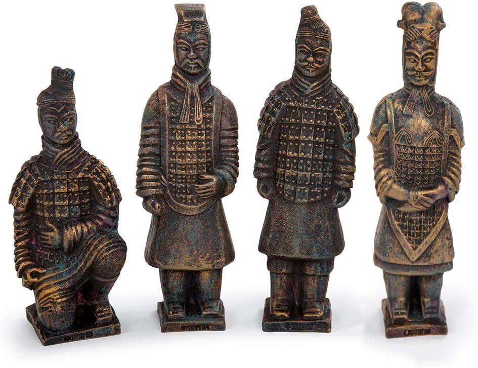 era85 Ancient Traditional Set Terracotta Warrior Statues, 6.5 x 6.5 inches, Antique Bronze, 12 Pieces