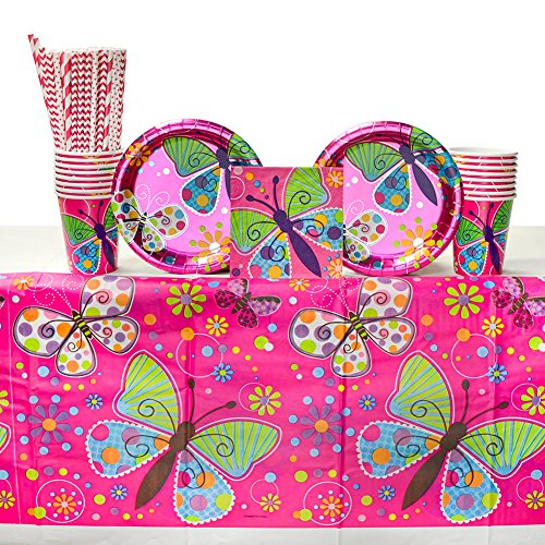 Butterfly Sparkle Birthday Supply Pack for 16 Guests: Straws, Dessert Plates, Beverage Napkins, Cups, -