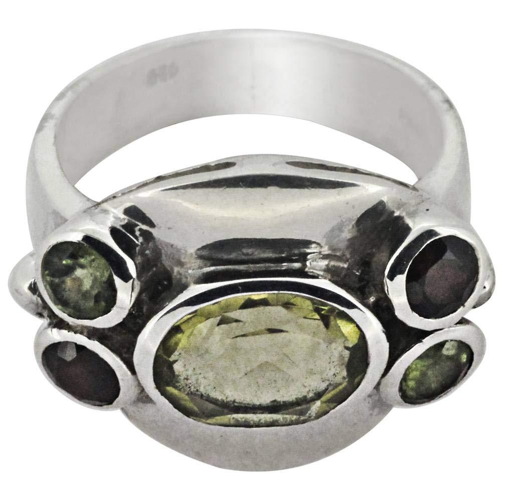 M/s Gajraj Garnet Stone 925 Sterling Silver Ring, US-6