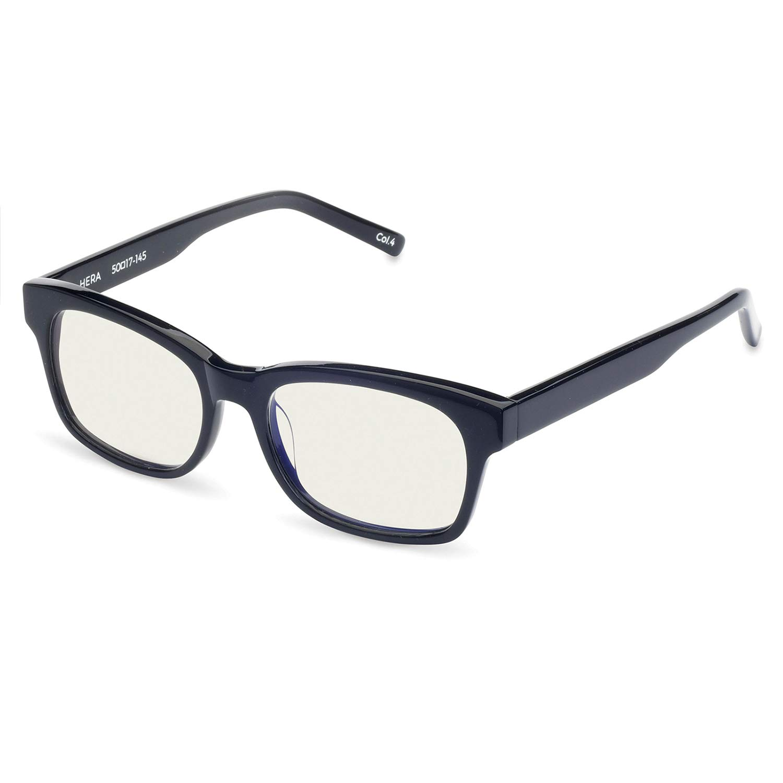 Boca Blu Blue Light Block Reading Glasses - Hera Anti-Eyestrain Computer Glasses, Gaming Unisex Eyewear - Acetate Frames, CR-39 Lenses - Magnification Strength +1.5 - Shiny Black