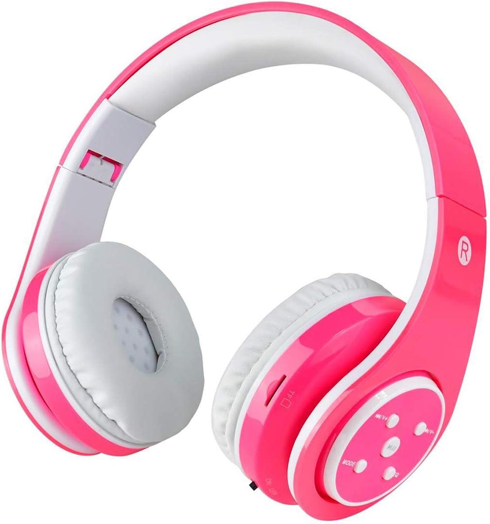 Auriculares inalámbricos Bluetooth para niños Volumen que limita el auricular plegable seguro con el micrófono Aux en tarjeta SD para Smartphone PC Tableta Rosado-Votones: Amazon.es: Electrónica