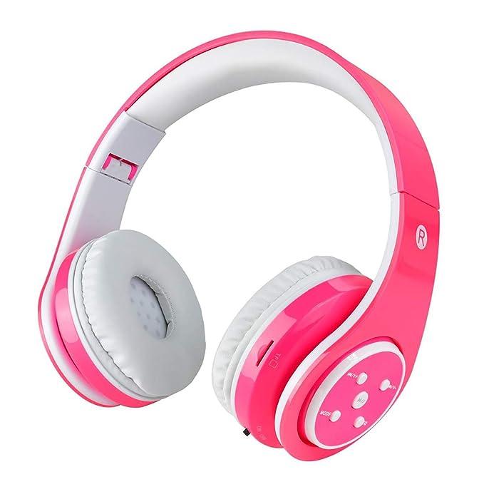 Auriculares inalámbricos Bluetooth para niños Volumen que limita el auricular plegable seguro con el micrófono Aux en tarjeta SD para Smartphone PC ...