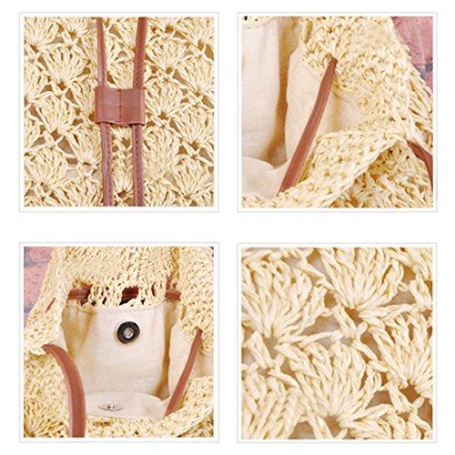 Tote Women Bgas Beach white creamy Handbags Haute LA Bags Summer Holiday Straw Shoulder Drawstring Beige v5zqB