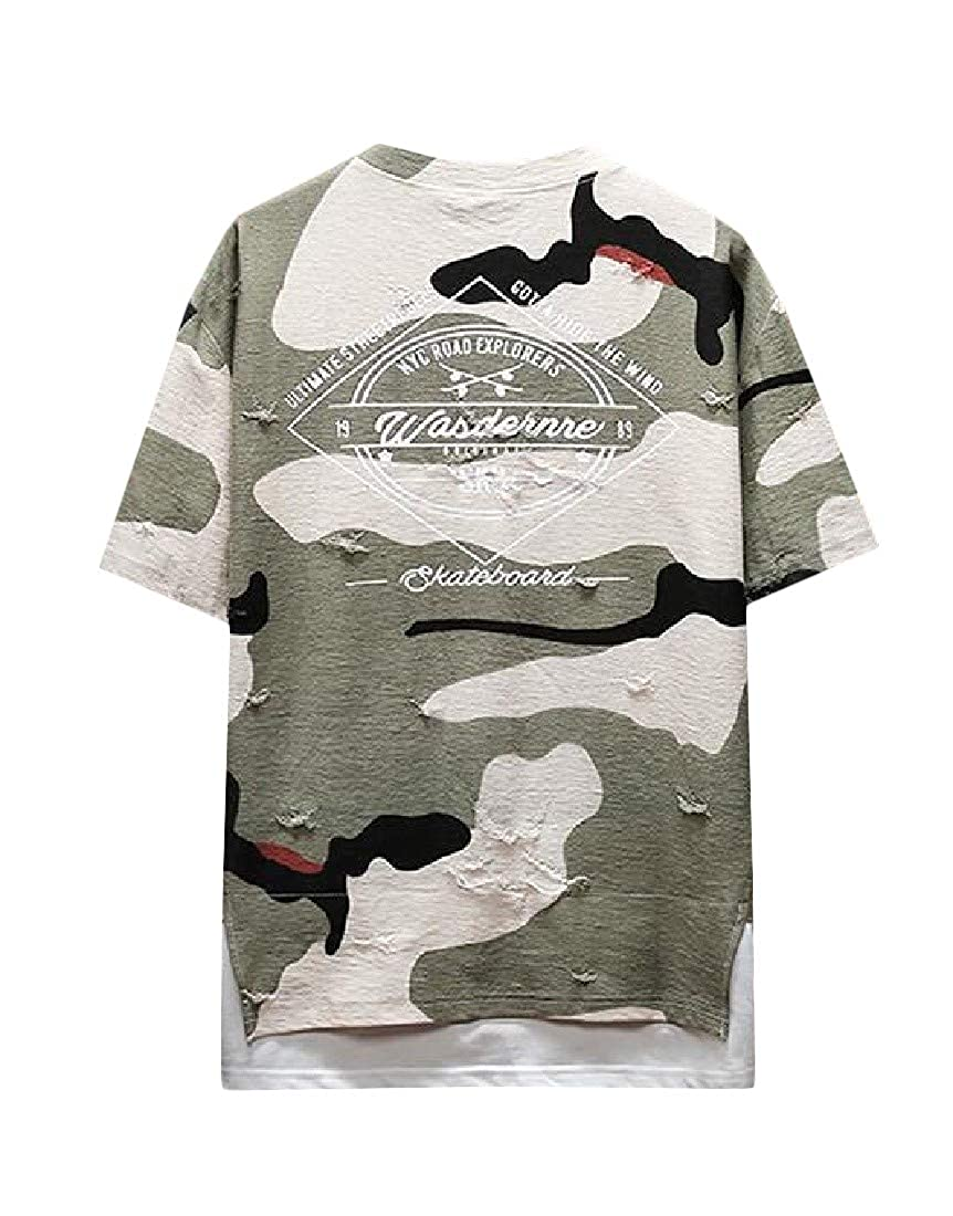 Cromoncent Mens Sport Tee Top Camouflage Short Sleeve Ripped T-Shirt