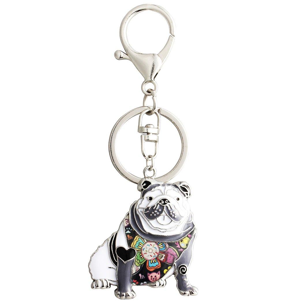 Luckeyui Black Enamel English Bulldog Keychain for Women Dog Lover Personalized Pets Animal Bag Keyring