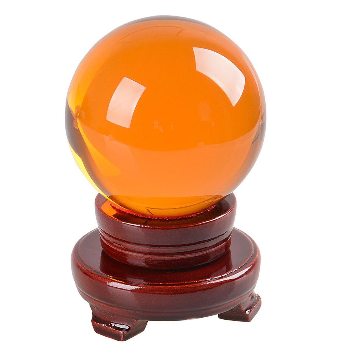 多色透明 水晶玉 150mm クリスタルボール 装飾品 【木製台ギフトボックス】 (茶色) B01N6GASP0 茶色 茶色