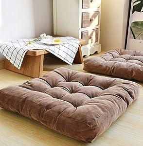 Square Floor Seat Cushions Pillows,Soft Tufted Thicken Patio Cushions,Premium Corduroy Chair Pad ,Tatami Floor Cushion for Yoga Meditation Living Room Balcony Outdoor 22x22x3.3Inches (Dark brown)