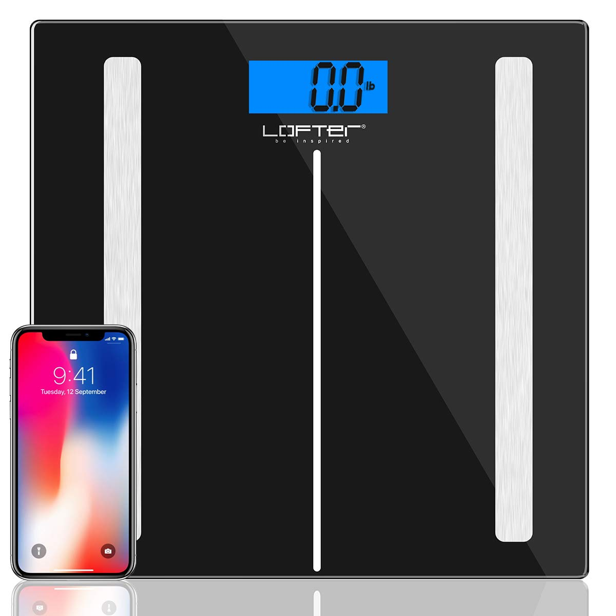 Bluetooth Body Fat Scale, LOFTER Smart Digital Weight Scale Wireless Bathroom Scale 12 Body Composition Analyzer with iOS & Android APP for Body Weight, Fat, Water, BMI, BMR, Muscle Mass, 396lbs Black