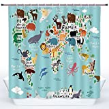 SCOCICI Fun Shower Curtain,Kids,Educational World Map Africa Camel America Lama Alligator Ocean Australia Koala Print Decorative,Polyester Shower Curtains Bathroom Decor Set with Hooks