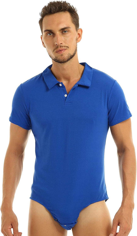 iEFiEL Mens Short Sleeve Turn-Down Collar Shirt One-Piece Leotard Bodysuit Romper Snappies Button Down Pajamas