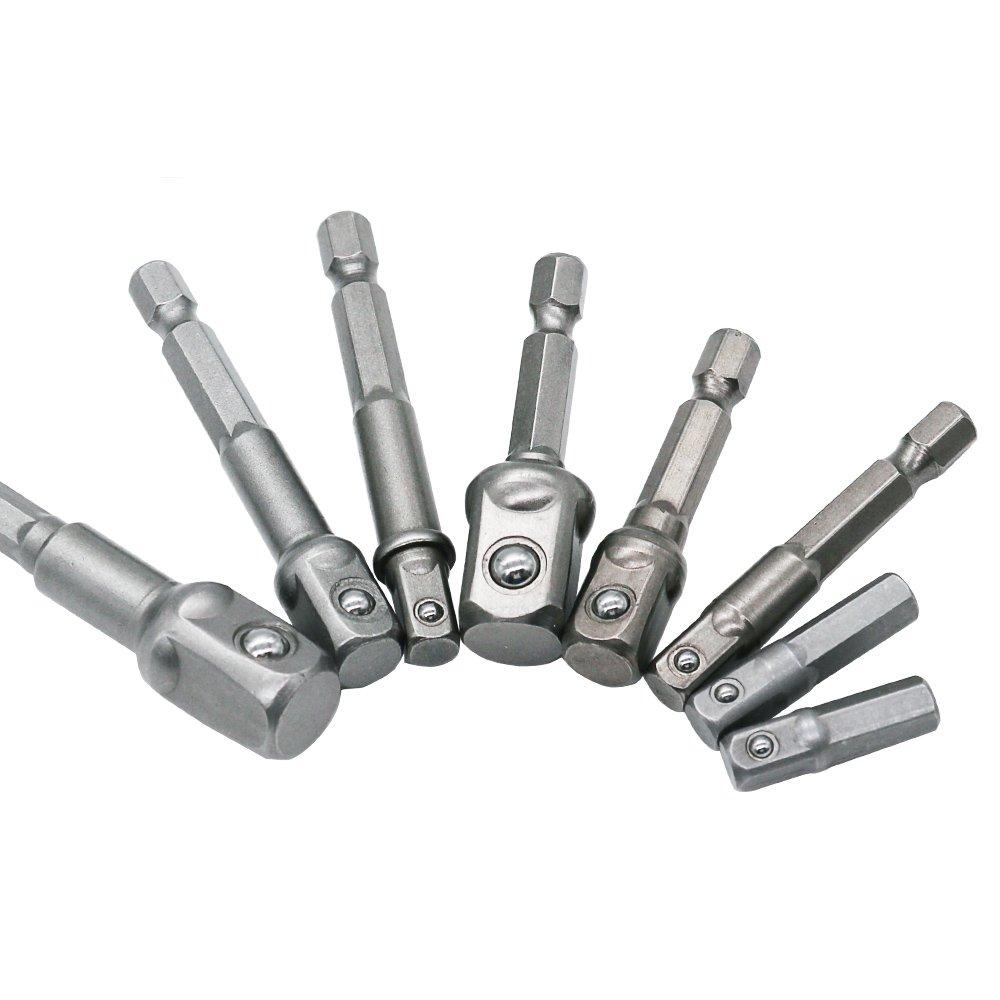 8P 1//4 3//8 1//2 QST 8Pcs Socket Adapter Impact Hex Shank Drill Bits Bar Set 1//4 3//8 1//2 Bits New
