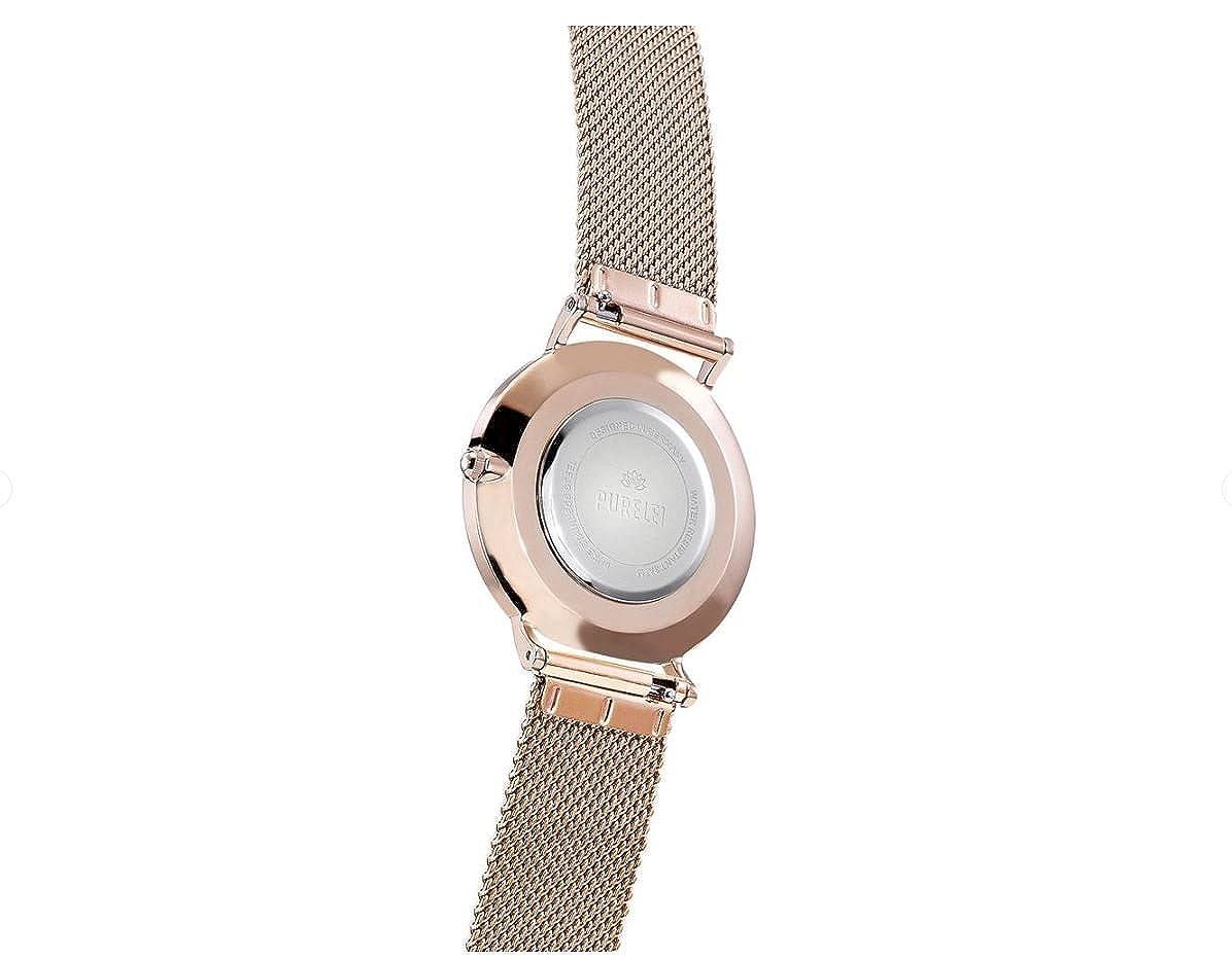 Purelei Perla Reloj de Pulsera Acero Oro Ennoblecido Mesh Pulsera Individual Tamaños Ajustable Hecho a Mano - Pearlspecial-Rosegold-Mesh, ...