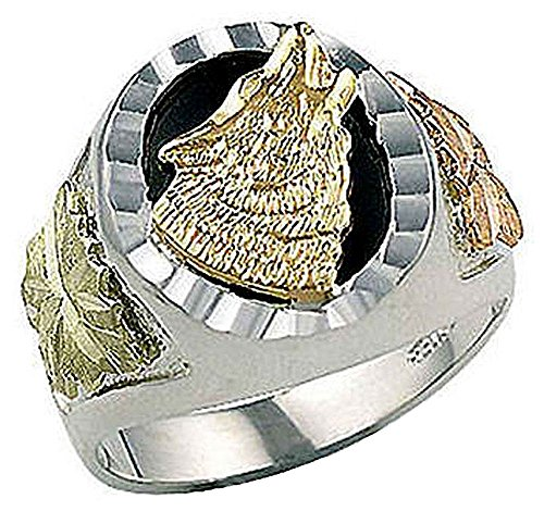 Landstroms Mens Sterling Silver Onyx Wolf Ring with 10K Black Hills Gold Wolf and Leaves - (Landstroms Mens Wedding Ring)
